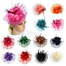 Lady Girls Feather Flwoer Net Fascinator Hair Band Hat for Wedding Party Costume