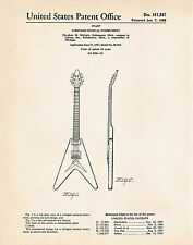 1958 Gibson Flying V Guitar Poster Best Gifts Guitar Players Patent Art Print