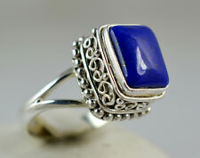 Genuine Lapis Lazuli 925 Solid Sterling Silver Handmade Ring Size 3 to 14 (US)