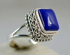 Genuine Lapis Lazuli 925 Solid Sterling Silver Handmade Ring Size 3 to 13 (US)