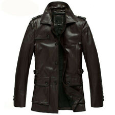 Brand New Men's Genuine Real Lambskin Soft Leather Trench Coat Long Jacket TC003