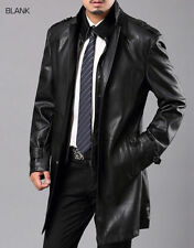 Brand New Men's Genuine Real Lambskin Soft Leather Trench Coat Long Jacket TC005