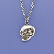 HALLOWEEN! Small Silver Skull Skeleton Chain Necklace Pendant in Gift Bag/Box