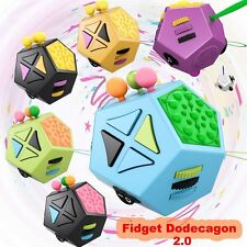 Fidget Dice Cube Kids Adult Anxiety Stress Magic 12 Sides Fun Spinning Toys Desk
