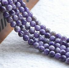100% Natural Round Amethyst Loose Gemstone Stone Beads Jewelry Strand 15""