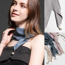 Spring Women girl stripe solid color faux pearl formal scarf stole wrap shawl