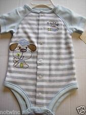 First Moments Infant Baby Boys Bodysuit Daddy's Little Slugger 0-3M  3-6M NWT