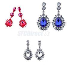 1 Pair Women Crystal Rhinestone Ear Studs Dangle Teardrop Earrings Party Jewelry