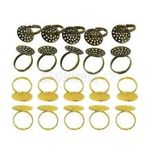 10Pcs Antique Bronze/Gold Plated Adjustable Ring Blanks 20mm Flat Pad Glue DIY