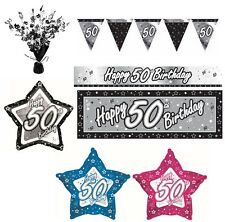 BLACK & SILVER - Age 50 - Happy 50th Birthday PARTY ITEMS Decorations Tableware