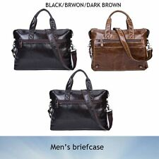 Men's Leather Shoulder Bag Briefcase Handbag Business Laptop Messenger Bag Brown