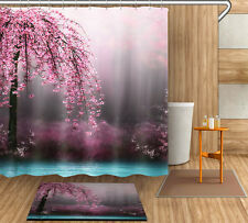 "72/79"" Dream Flowers Tree Shower Curtain Bathroom Mat Waterproof Fabric YL4008"