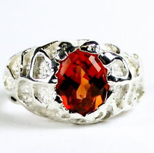 • SR168, Created Padparadsha Sapphire, 925 Sterling Silver Men's Ring -Handmade