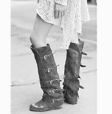 Womens Retro Real Leather Buckle Belt Knee High Motor Boots Roman Zip Shoes SIZE