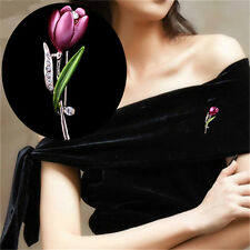 Tulip Flower Brooches 1Pcs Brooches Rhinestone Crystal Elegant Jewelry