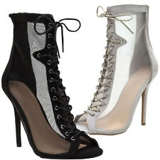 New Sheer Mesh Peep Toe Lace Up Stiletto High Heel Women Ankle Booties Boot Shoe
