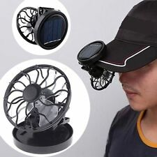 Portable Mini Clip-on Solar Fan Outdoor Sun Powered Panel Cooling Cell Fan Black