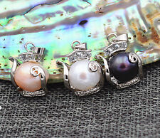 New 12x14mm Black White Pink Baroque Pearl Pendant Necklace 18KGP