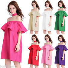 Gamiss Stylish Women Off Shoulder Ruffles Cute Dress Neckline With Tie One Size