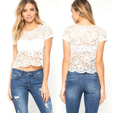 Women 1Pcs Perspective Tee Floral Short Sleeve Lace 1x Blouse Casual