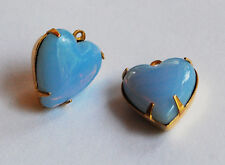 VINTAGE GLASS OPAL HEART PENDANT BEADS • 15mm • Blue, White, or Pink Opal