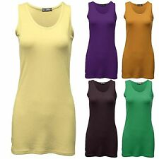NEW LADIES MUSCLE BACK TOP GYM VEST WOMENS SUMMER LONG LOOK STRETCHY JERSEY TOPS