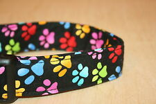 Colorful Paw Prints Adjustable Dog Collars & Martingales & Leashes & Cat Collars