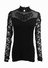 Top black with sleeves lace and neckline pattern floral elegant Punk Rave