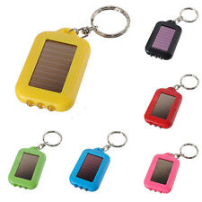 Mini 3 LED Solar Power Rechargeable Flashlight Keychain Torch Light Ring Holder