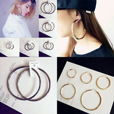 Gold Plated Twisted  Circle Round Loop Hoop Sexy Oversized  Earrings for Women