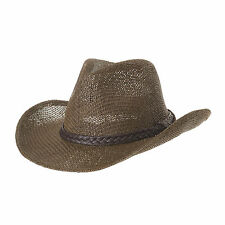 WITHMOONS Western Cowboy Hat Summer Cool Paper Straw Banded CR8678