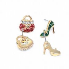 Crystal 1Pair Asymmetrical High Heel Shoe Bag Earrings For Women Rhinestone