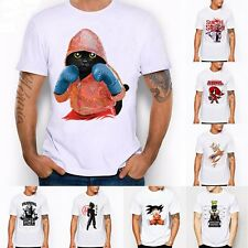 Casual Men's Short Sleeve Funny Graphic Print White O Neck T-shirts Streetwear