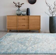 RUGS AREA RUGS 8x10 AREA RUG CARPET LARGE FLOOR FLORAL BLUE FADED DISTRESSED RUG