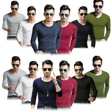 Men V/O Neck T-shirts Long Sleeve Slim Tee Tops Shirt Casual Pullover Clothes