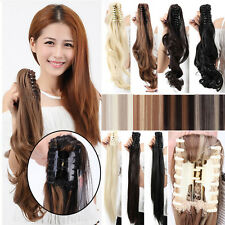 New Claw Clip In On Pony Tail Ponytail Hair Extensions Fake Hair as Human Soft A