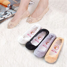 Women Summer Invisible Lace Boat Liner Socks Low Cut No Show Non Slip Sock Hot