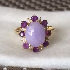 ESTATE~LAVENDER JADE & ROUND CUT DIAMOND AMETHYST 14K GOLD COCKTAIL RING