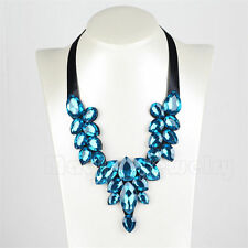 Simple Charming Water Droplets Crystal Ribbon Women's Necklace Fashion Jewelry