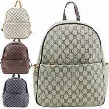 NEW UNISEX OILCLOTH CANVAS CHECKED PATTERN SCHOOL TRAVEL HOLIDAY BACKPACK