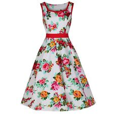Vintage White and Multi Colour Rockabilly Floral Print Vintage 50s Swing Dress