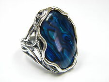 Handmade Sterling Silver 925 Ring Cocktail Ring Blue Abalone Women's Ring