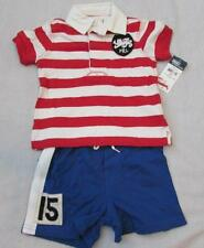 RALPH LAUREN baby boys outfit red striped rugby shirt blue shorts NEW