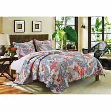 Twin Full Queen King Bed Coastal Beach Coral Seashells 3 pc Quilt Set Coverlet