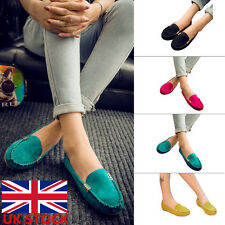 UK Womens Ladies Round Ballerina Low Flats Loafers Moccasins Slip On Work Shoes