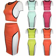 NEW WOMENS LADIES BODYCON CROP TOP PENCIL MIDI SKIRT TOPS T SHIRT SUMMER SKIRTS