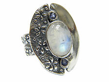 NEW SHABLOOL 925 Sterling Silver Milky white natural Moonstone Statement Ring