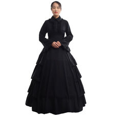 Vintage Victorian Black Ball Gown Gothic Flounces Reenactment Costume Dress