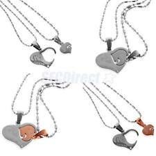 2pcs/ Set 'I Love You' Matching Heart Pendant Necklace Lovers Couple Jewelry
