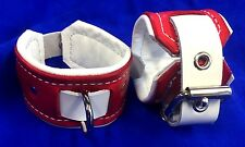 """Leather wrist or ankle cuffs with connector 2 1/4"""" wide"""